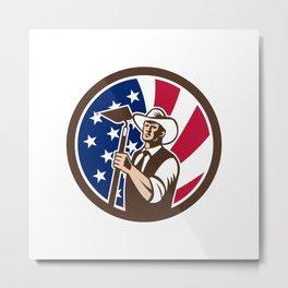 American Organic Farmer USA Flag Icon Metal Print