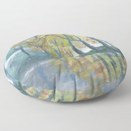 Spring Trees Reflecting Over Lake Floor Pillow