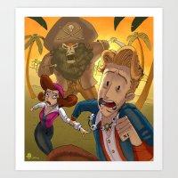 monkey island Art Prints featuring Monkey Island - RUN by Gromy