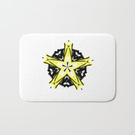 Yellow and White Star and Black Circle Kaleidoscope Bath Mat