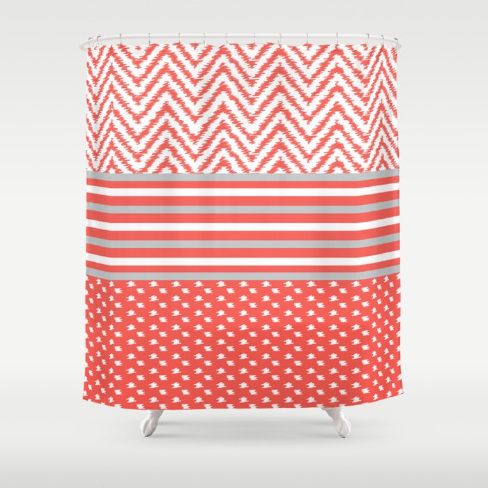 Ikat Coral Chevron Shower Curtain By Michellelocklear
