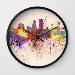 Jacksonville skyline in watercolor background Wall Clock