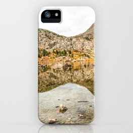 Crystal Clear Lake // Rustic Mountain Gray Sky and Autumn Colors iPhone Case