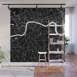 Black on White London Street Map II Wall Mural