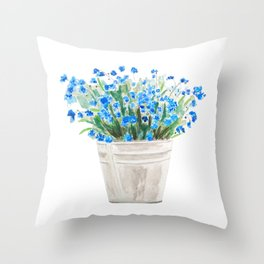 blue forget me not in a basket watwercolor Throw Pillow