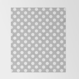 Large Polka Dots in White on Light Gray Throw Blanket