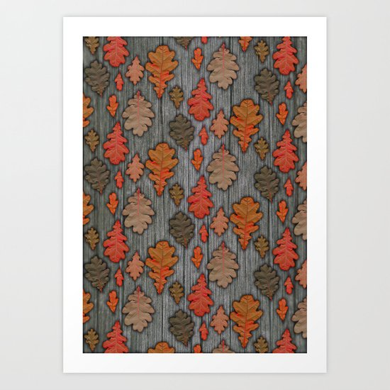 Patterns of Nature - Autumn Oak Leaves Art Print