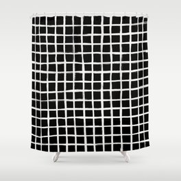 Strokes Grid - Off White on Black Shower Curtain