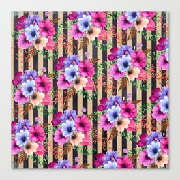 Fragrant Floral Bouquets on Striped Pattern Canvas Print