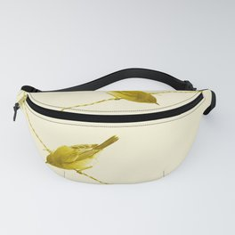 Monochrome - Yellow warblers on the wire Fanny Pack