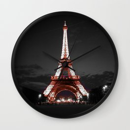 Paris Eiffel Tower Pink Night Wall Clock