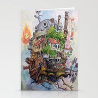 calcifer Stationery Cards featuring Howls Moving Castle Painting 2 by Little Miss Marikit
