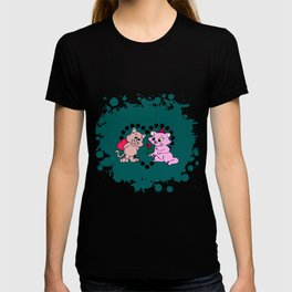 cats couple gift for valentine day T-shirt