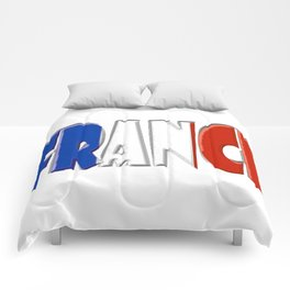 France Font with French Flag Comforters