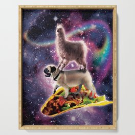 Rainbow Space Llama On Pug Riding Taco Serving Tray
