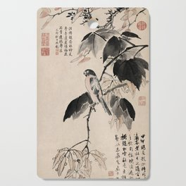 Ink Painting Calligraphy, Bird and Phoenix Tree, Wutong, Ming Dynasty, Hand Drawing Ancient Painting Cutting Board