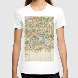 England and Wales Vintage Map T-shirt