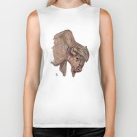 bison Biker Tanks featuring Bison by Ursula Rodgers