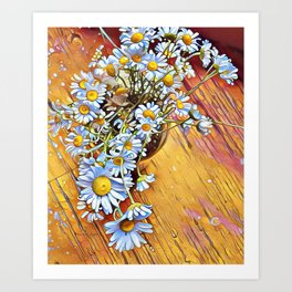 White Daisies Yellow Floor by CheyAnne Sexton Art Print