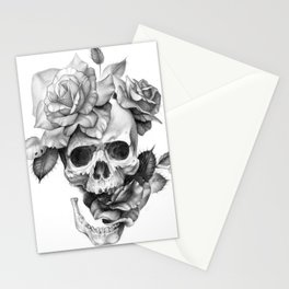 Black and white Skull and Roses Stationery Cards