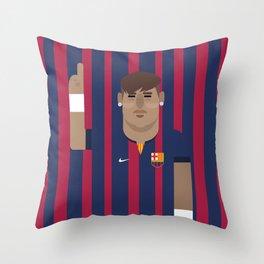 Neymar Barcelona Illustration Print Throw Pillow