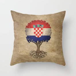 Vintage Tree of Life with Flag of Croatia Throw Pillow