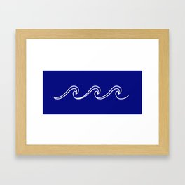 Rough Sea Pattern - white on blue Framed Art Print