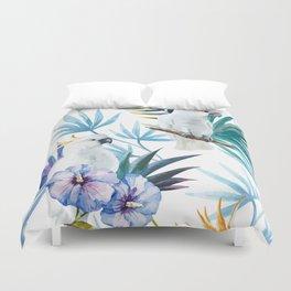 Tropical Cockatoo Watercolor Pattern Duvet Cover