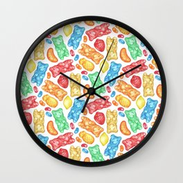 Gummies Galore - A rainbow of hand-drawn fruity flavored gummies and jelly beans Wall Clock