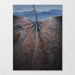 Autumn leaf with Smokey Mountain Vista Canvas Print