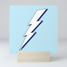 Just Me and My Shadow Lightning Bolt - Light-Blue White Blue Mini Art Print