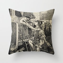 Romeo and Juliet William Shakespeare Balcony Illustration Throw Pillow
