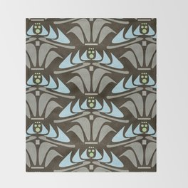 Blue - Arts and Crafts Inspired Stylized Floral Pattern - Susan Weller Throw Blanket