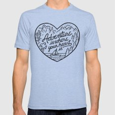 Adventure is where your heart is Tri-Blue Mens Fitted Tee MEDIUM