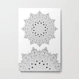 Stars and Stripes - Patriotic Mandala - Black and White - 'Merica! Metal Print