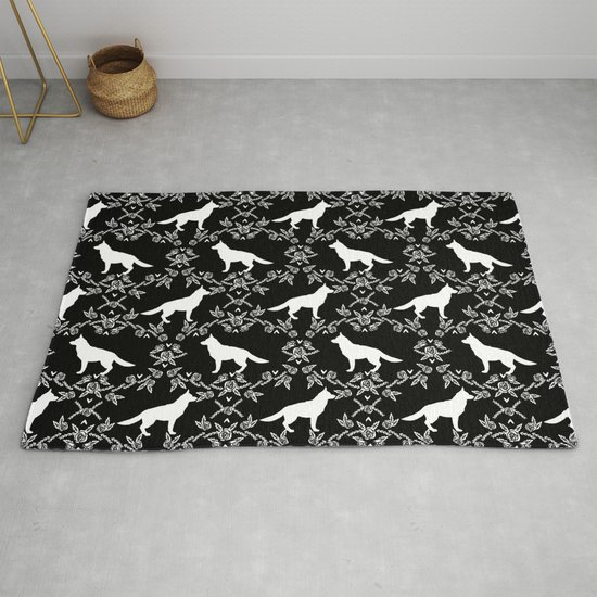 German Shepherd florals dog lovers dog silhouette floral pet pattern dogs  Rug by petsilhouettes