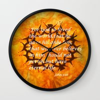 religious Wall Clocks featuring John 3:16 Religious Abstract Art by Saribelle Rodriguez  by Saribelle Inspirational Art