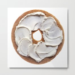 Bagel with Cream Cheese Metal Print