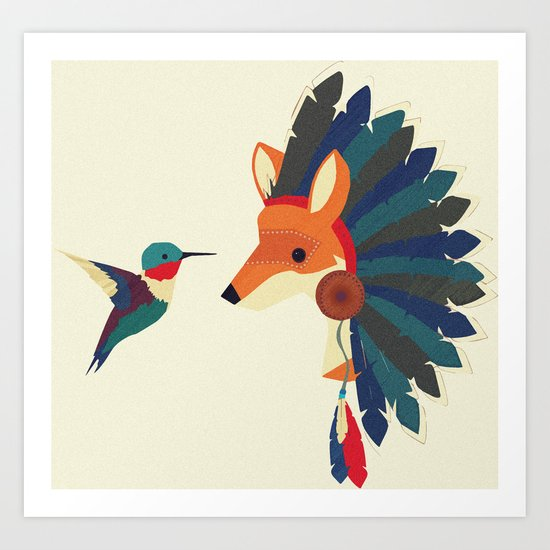 Painted Indian Fox and Hummingbird Art Print