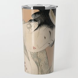 Vintage Japanese Ukiyo-e Woodblock Print Woman Portrait I Travel Mug