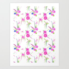 Watercolor Floral in pink and purple Art Print