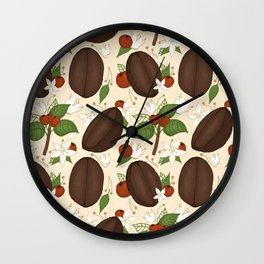Hand-drawn coffee pattern on beige for all coffee lovers Wall Clock