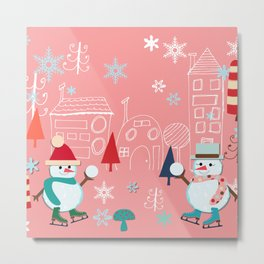 winter fun pink Metal Print