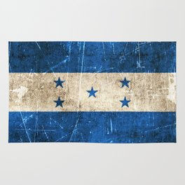Vintage Aged and Scratched Honduras Flag Rug