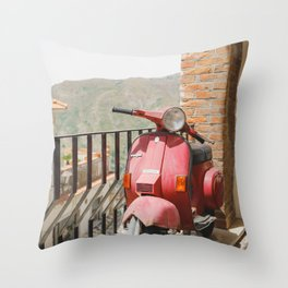 Vintage Vespa   Italy Sicily travel scooter mountain view photography art print Throw Pillow