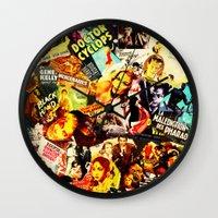 movie posters Wall Clocks featuring Movie vintage poster by Brigitta