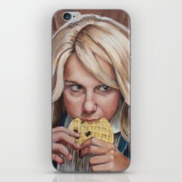 Eleven eats an Eggo - Stranger Painting Things iPhone Skin