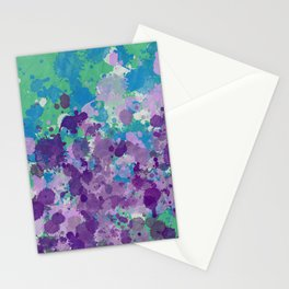 Paint Splatters Green Purple Texture Pattern Stationery Cards