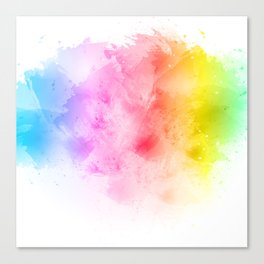 Rainbow abstract artistic watercolor splash background Canvas Print