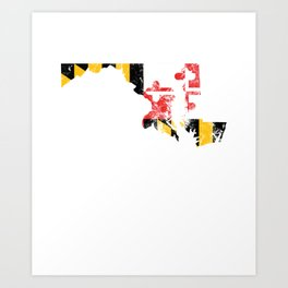 Maryland Flag - Vintage Text State Flag Art Print